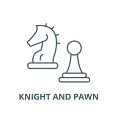 knight and pawn line icon linear concept vector image