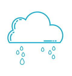 line cute cloud with raining and cold weather vector image