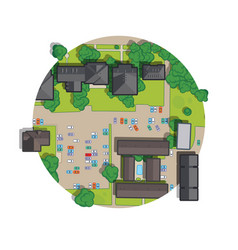 mall a top view from rooftops trees cars vector image
