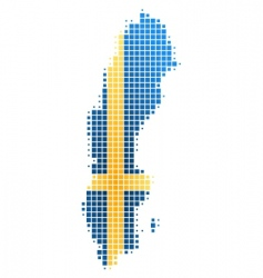 map and flag of Sweden vector image
