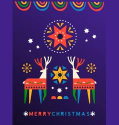 merry christmas folk art deer greeting card vector image