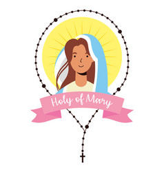 Miraculous virgin assumption mary with rosary vector