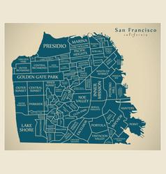 Modern city map - san francisco city of the usa vector
