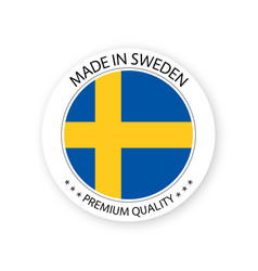 Modern made in sweden label vector