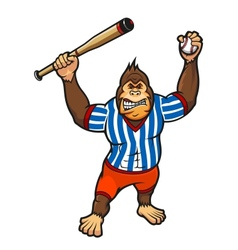 Monkey baseball player vector image
