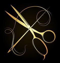 Needle thread and golden scissors symbol vector