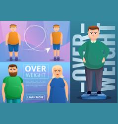 Obesity banner set cartoon style vector