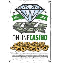 online casino poker gambling game win vector image