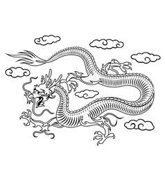 Oriental dragon in clouds vector