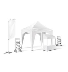 Outdoor exhibition tent pop up marquee mock vector