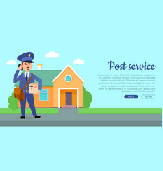 Post service flat cartoon web banner vector