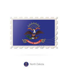 Postage stamp with image north dakota vector