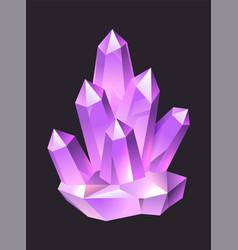 Purple jewelry cartoon gems crystal stalagmites vector