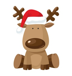 Reindeer in Christmas hat vector