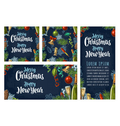 seamless pattern and posters with happy new year vector image