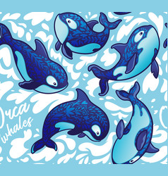 seamless pattern with decorative orca whales vector image