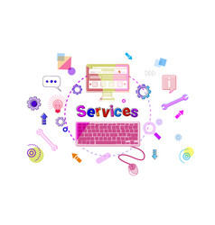 Services banner technical support client help vector