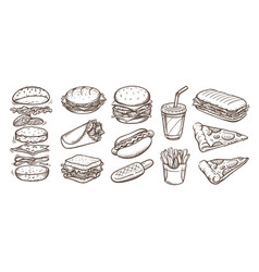 set fast food in vector image