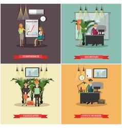 Set of business people concept posters vector