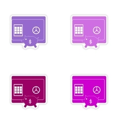 Set of stylish sticker on paper safe and piggy vector
