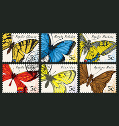 set postage stamps with various butterflies vector image