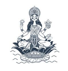 silhouette godess laxmi lotus vector image
