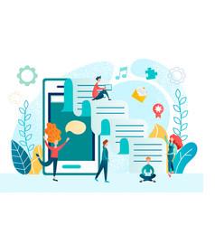 social media mobile app teamwork vector image
