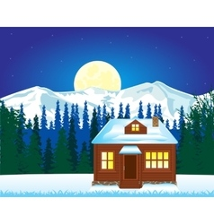 Solitary house in mountain vector image