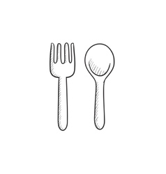 Spoon and fork sketch icon vector image