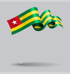 Togo pin wavy flag vector