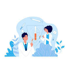 Vaccination hospital team using vaccines clinic vector