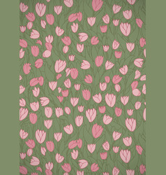 Vertical card with cute cartoon pink flowers vector