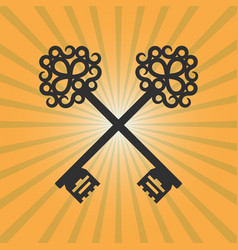 vintage crossed keys on orange background vector image
