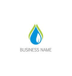 water droplet bio eco leaf logo vector image