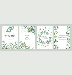 Wedding greenery posters elegant floral frames vector