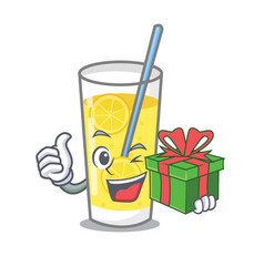 With gift lemonade mascot cartoon style vector