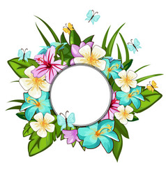 wreath different flowers leaves butterflies vector image
