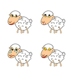 A funny sheep expressing different emotions vector image vector image
