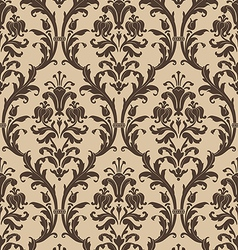 Damask seamless pattern in brown and beige vector image