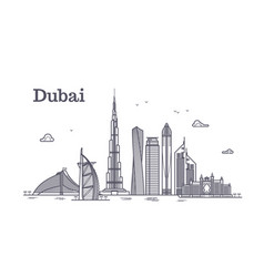 detailed dubai line cityscape with vector image