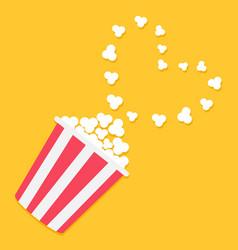 popcorn popping in the corner heart shape frame vector image vector image