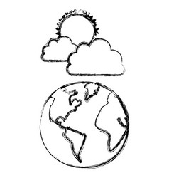silhouette earth planet with cloud and sun vector image