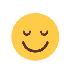 yellow smiling cartoon face closed eyes emoji vector image vector image