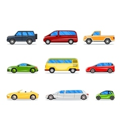 car icons in flat style vector image vector image