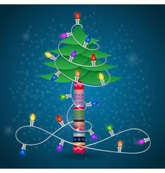 Christmas tree with garland winter postcard vector image