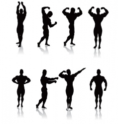 classic bodybuilding poses vector image vector image