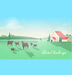 gorgeous rural landscape with domestic animals vector image vector image