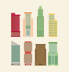 skyscraper offices flat business buildings set vector image