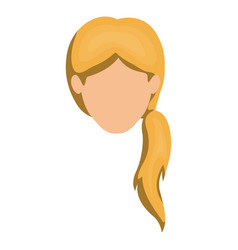 white background of faceless woman blonde with vector image