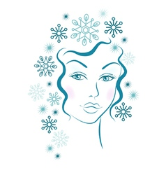 Winter girl with blue snowflakes hair vector image vector image
